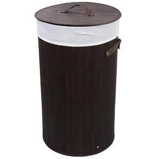 Round Folding Bamboo Laundry Basket with Handles