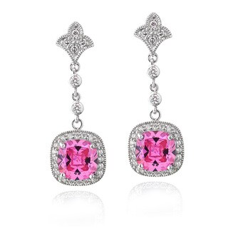 ICZ Stonez Sterling Silver 12 5/8ct TGW Pink Cubic Zirconia Square Dangle Earrings