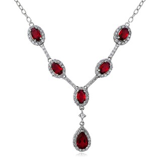Glitzy Rocks Sterling Silver Created Gemstone and Cubic Zirconia Necklace (Option: Ruby - Red - July)
