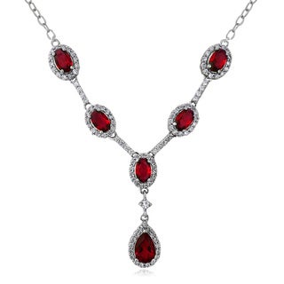 Link to Glitzy Rocks Sterling Silver Created Gemstone and Cubic Zirconia Necklace Similar Items in Necklaces