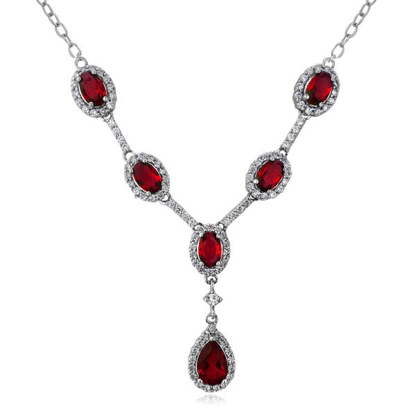 Glitzy Rocks Sterling Silver Created Gemstone and Cubic Zirconia Necklace
