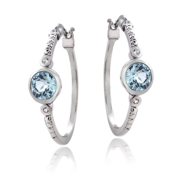 Glitzy Rocks Sterling Silver Gemstone Hoop Earrings