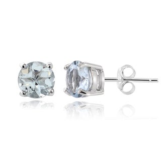Glitzy Rocks Sterling Silver 1/2ct Aquamarine Stud Earrings