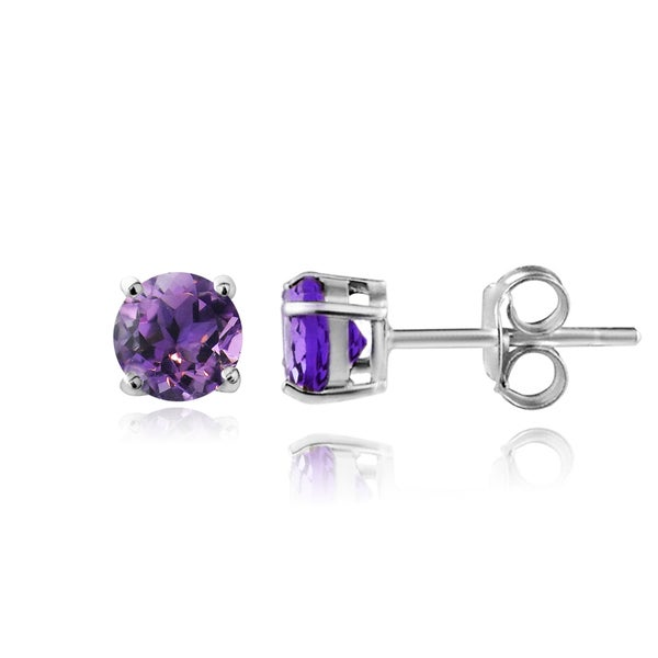Glitzy Rocks Sterling Silver 1 2ct African Amethyst Stud Earrings