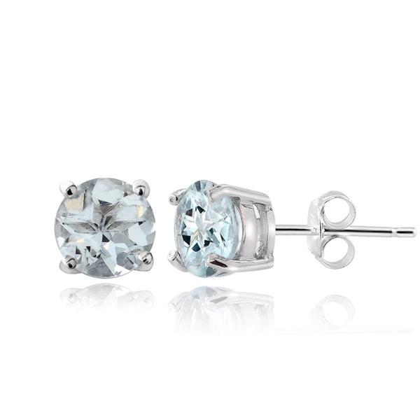 Glitzy Rocks Sterling Silver 1 4 5ct Aquamarine Stud Earrings