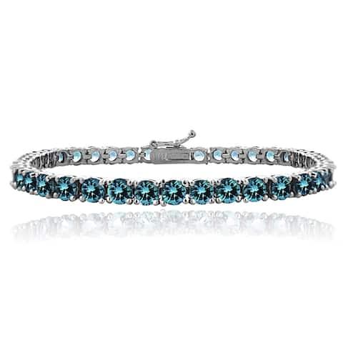 Glitzy Rocks Sterling Silver 12 3/5ct London Blue Topaz 4mm Round Tennis Bracelet