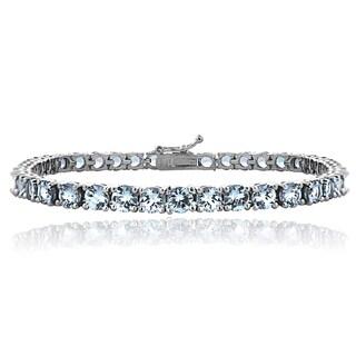 Glitzy Rocks Sterling Silver 12 3/5ct Swiss Blue Topaz 4mm Round Tennis Bracelet