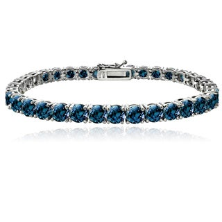 Glitzy Rocks Sterling Silver 16 4/5ct TGW London Blue Topaz Tennis Bracelet