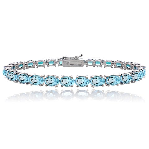 Glitzy Rocks Sterling Silver 16ct TGW Swiss Blue Topaz Tennis Bracelet