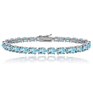 Glitzy Rocks Sterling Silver 16ct TGW Swiss Blue Topaz Tennis Bracelet