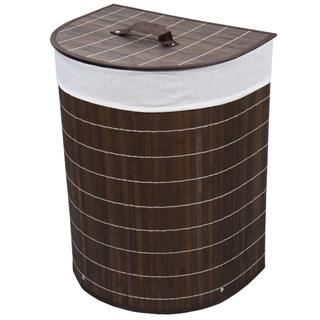 Half Moon Folding Bamboo Laundry Basket