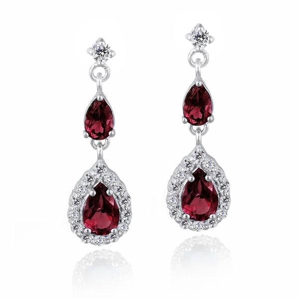 Glitzy Rocks Sterling Silver Created Gemstone and Cubic Zirconia Teardrop Earrings