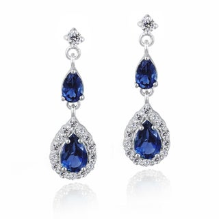Glitzy Rocks Sterling Silver Created Gemstone and Cubic Zirconia Teardrop Earrings (2 options available)