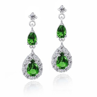 Glitzy Rocks Sterling Silver Created Gemstone and Cubic Zirconia Teardrop Earrings (3 options available)