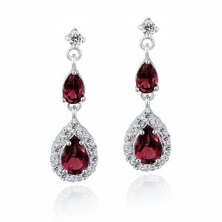 Glitzy Rocks Sterling Silver Created Gemstone and Cubic Zirconia Teardrop Earrings|https://ak1.ostkcdn.com/images/products/9565134/P16749986.jpg?impolicy=medium