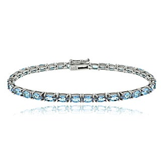 Glitzy Rocks Sterling Silver 10 1/2ct Swiss Blue Topaz Oval Tennis Bracelet
