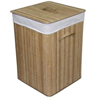 Square Folding Bamboo Laundry Basket with Handle