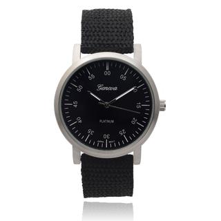 Geneva Platinum Women's Round Black Dial Quartz Watch