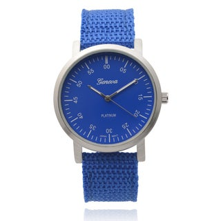 Geneva Platinum Women's Round Blue Canvas Quartz Watch