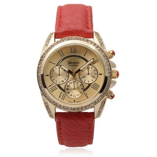 Geneva Platinum Rhinestone Accent Round Dial Watch