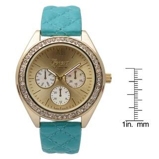 Geneva Platinum Women's Rhinestone Accent Blue Quilted Strap Round Watch
