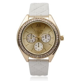 Geneva Platinum Women's Rhinestone Accent Quilted Band Round Face Watch