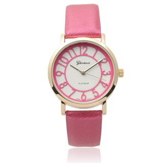 Geneva Platinum Women's Pink Faux Leather Watch