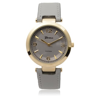 Geneva Platinum Goldtone SW-9858 Round Grey Dial Japanese Quartz Watch