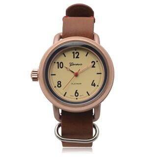 Geneva Platinum Goldtone SW-9872 Left Hand Round Tan Dial Quartz Watch