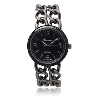 Geneva Platinum Women's SW-4780 Round Face Quartz Chain Detail Watch
