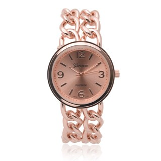 Geneva Platinum Women's SW-4780 Round Dial Quartz Chain Detail Watch