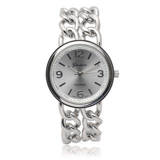 Geneva Platinum Women's Silvertone Quartz Chain Watch