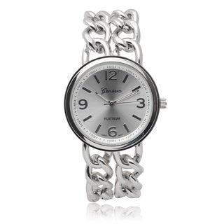 Geneva Platinum Women's Silvertone Quartz Chain Watch