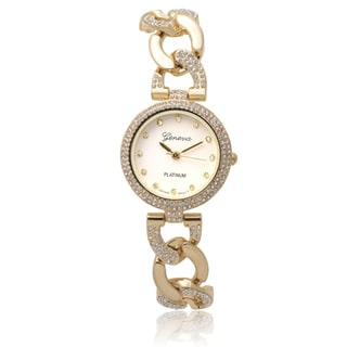 Geneva Platinum Women's Rhinestone Accent Round Face Quartz Watch