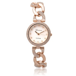 Geneva Platinum Rhinestone Accent Round Face Quartz Watch