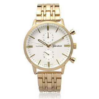 Geneva Platinum Women's Goldtone Round Face Quartz Link Watch