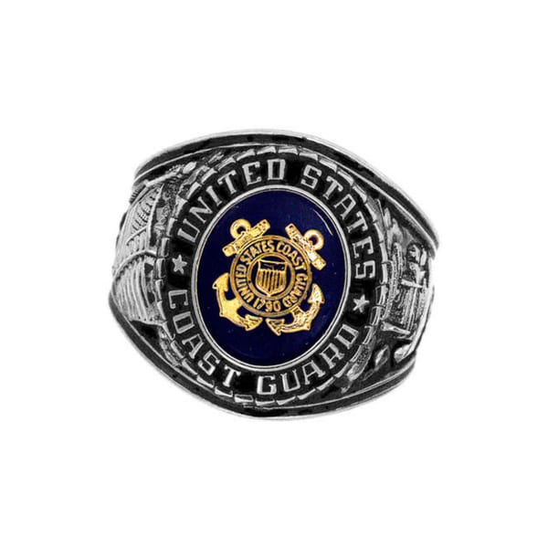 Official US Coast Guard Deluxe Engrave Silvertone Sapphire Crystal Ring