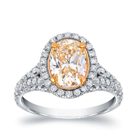 Auriya 18k Two-tone Gold 2 7/8ctw Oval-cut Yellow Diamond Engagement Ring