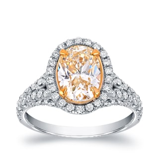 Auriya 18k Two-tone Gold 2 7/8ct TDW Fancy Yellow Oval-shaped Diamond Ring (VS1-VS2)