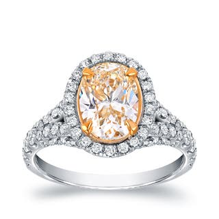Auriya 18k Two-tone Gold 2 7/8ct TDW Fancy Yellow Oval-shaped Diamond Ring|https://ak1.ostkcdn.com/images/products/9565239/P16749520.jpg?impolicy=medium