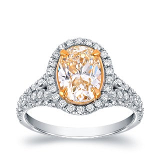 Auriya 18k Two-Tone Gold 2 7/8ct TDW Fancy Yellow Oval-Cut Diamond Halo Engagement Ring