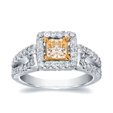 Auriya 1 2/5ctw Fancy Princess-cut Yellow Diamond Engagement Ring 14k White Gold