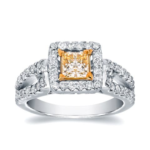 Auriya Fancy 1 2/5ct TDW Yellow Princess-Cut Diamond Halo Engagement Ring 14k White Gold