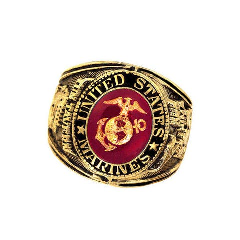 US Insignia Marines Red Crystal Deluxe Engraved Goldtone Ring