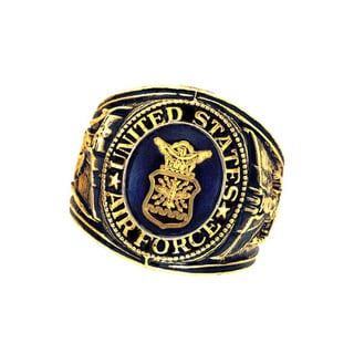 Official US Air Force Sapphire Crystal Deluxe Engraved Goldtone Ring (Option: Gold)