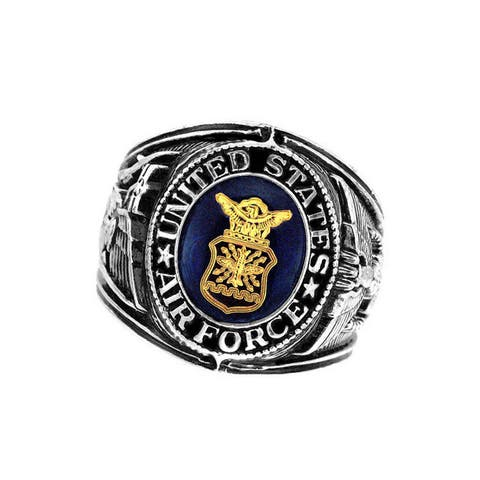 US Insignia Air Force Deluxe Engraved Blue Crystal Silvertone Ring