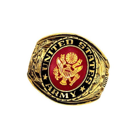 US Insignia Army Goldtone Deluxe Engraved Red Crystal Ring