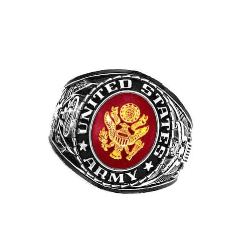 US Insignia Army Deluxe Engraved Silvertone Ruby Crystal Ring