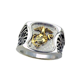 Official US Marines Men's Rhodium Plated Ring