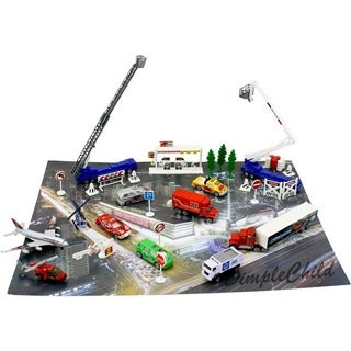 Die Cast City Race Vehicle and Town Set with 50 Unique Automobile and Scenic Pieces along with Mat by Dimple